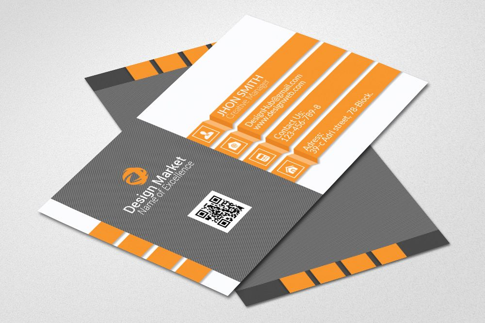 Clean business card psd by designhub719 design bundles clean business card psd example image reheart Images