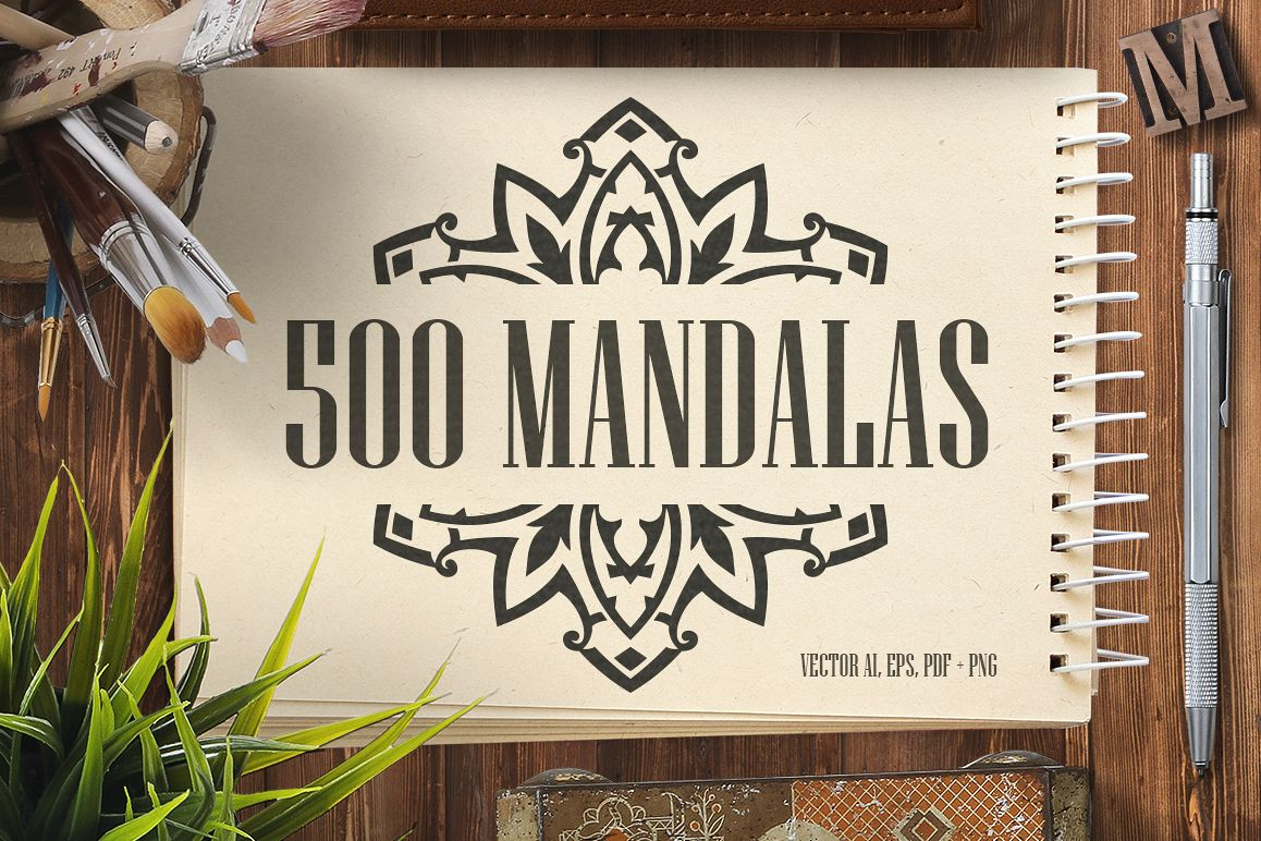 500 Vector Mandala Ornaments example image