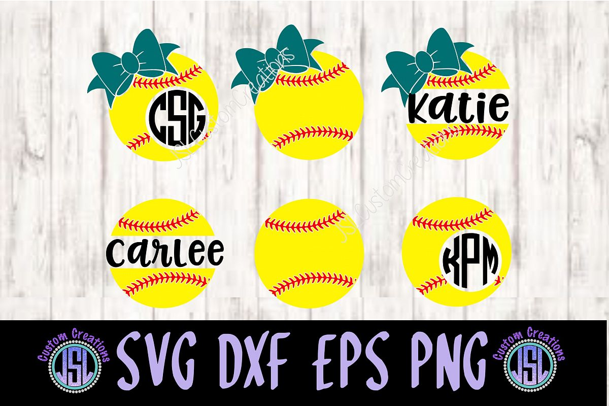 Softball Monogram & Split Name Frame SV | Design Bundles