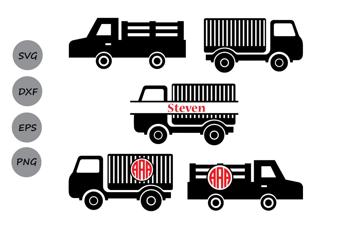 Truck Svg Monogram Old Cut Files