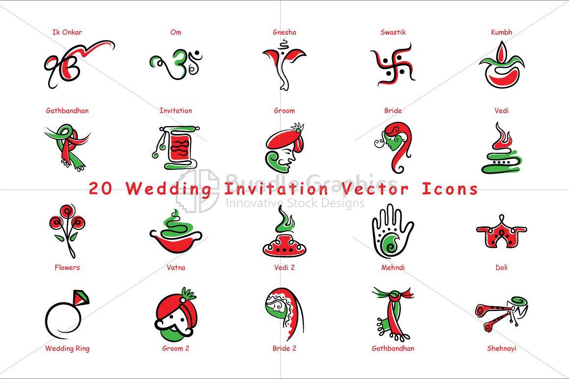 Indian wedding invitation icons vector design bundles indian wedding invitation icons vector pack of 20 example image stopboris Gallery