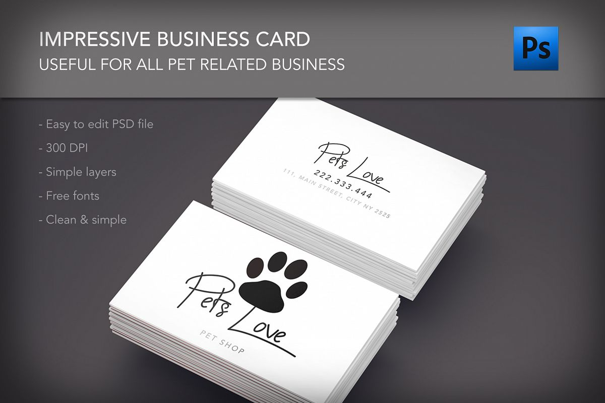 Pet lovers shop clinic business card by | Design Bundles