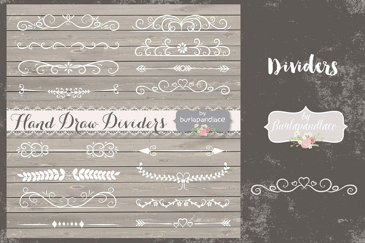 VECTOR Hand Drawn flourishes dividers  example image