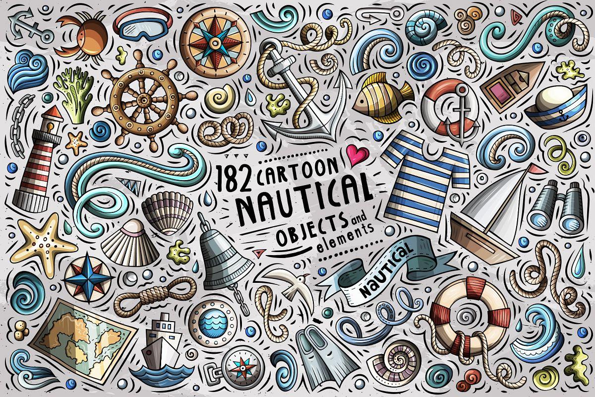 Nautical Cartoon Objects Set example image