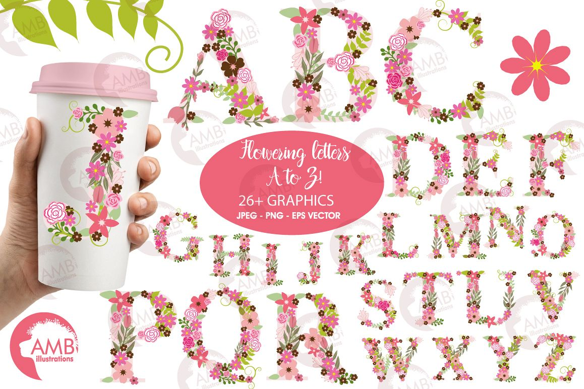 Floral alphabet clipart, graphics, illustrations AMB-1104 example image