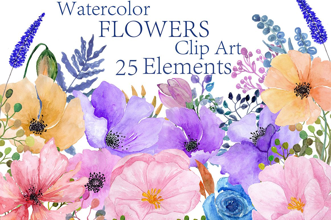 Watercolor flowers clipart example image