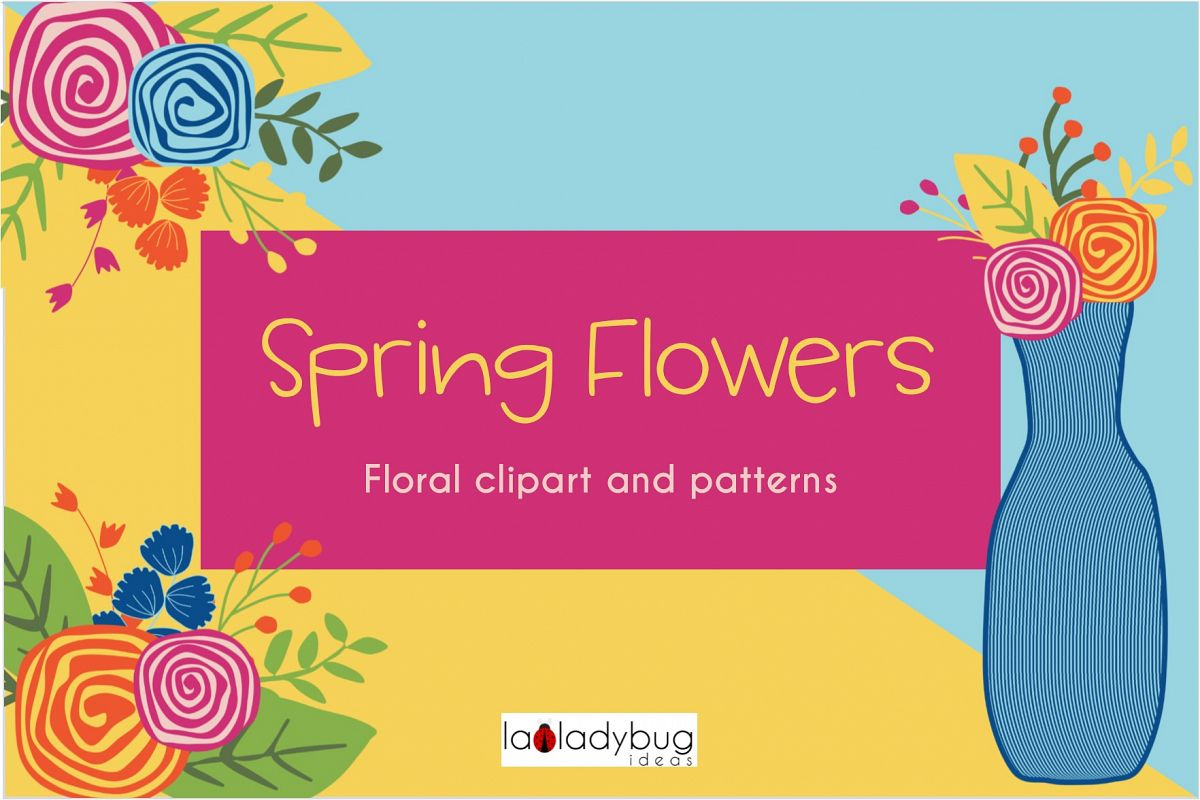 Spring Flowers Clip Art And Digital Pa Design Bundles