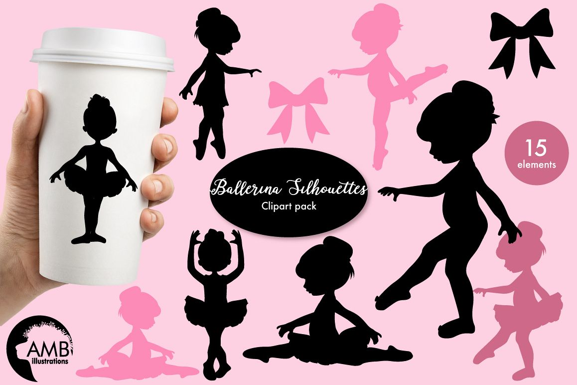 Ballerina silhouettes clipart, graphics, illustrations AMB-1584 example image