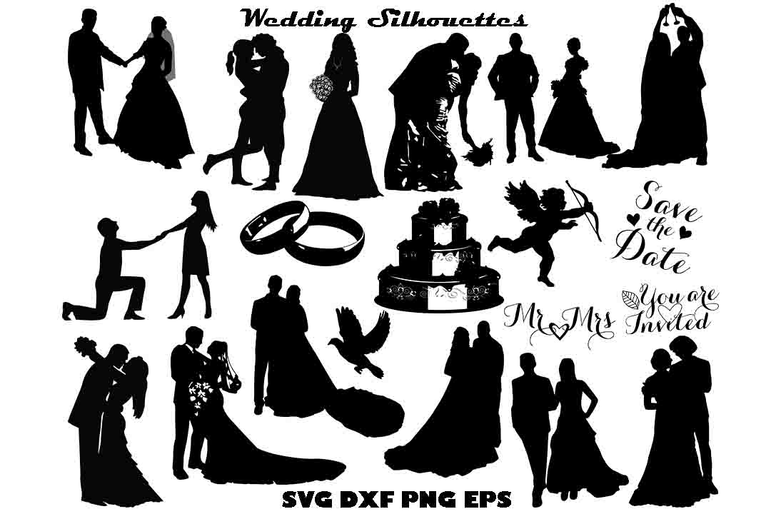 Wedding silhouette svg dxf png eps by t design bundles wedding silhouette svg dxf png eps example image junglespirit Gallery