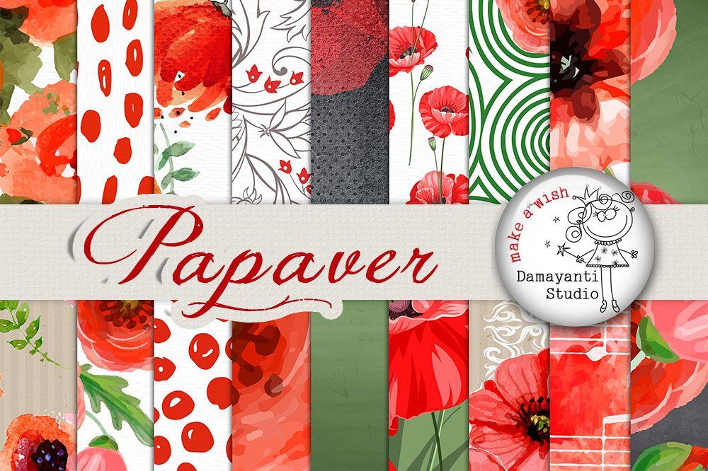 Poppy flower digital paper patterned p design bundles poppy flower digital paper patterned paper watercolor flowers seamless pattern poppies paper mightylinksfo