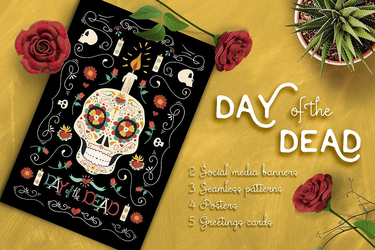 Hand drawn day of the dead set skull p design bundles hand drawn day of the dead set skull party example image m4hsunfo