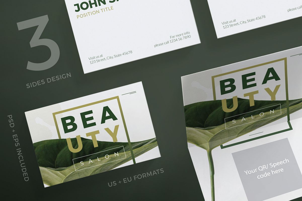 Beauty Salon Business Card Design Templ | Design Bundles