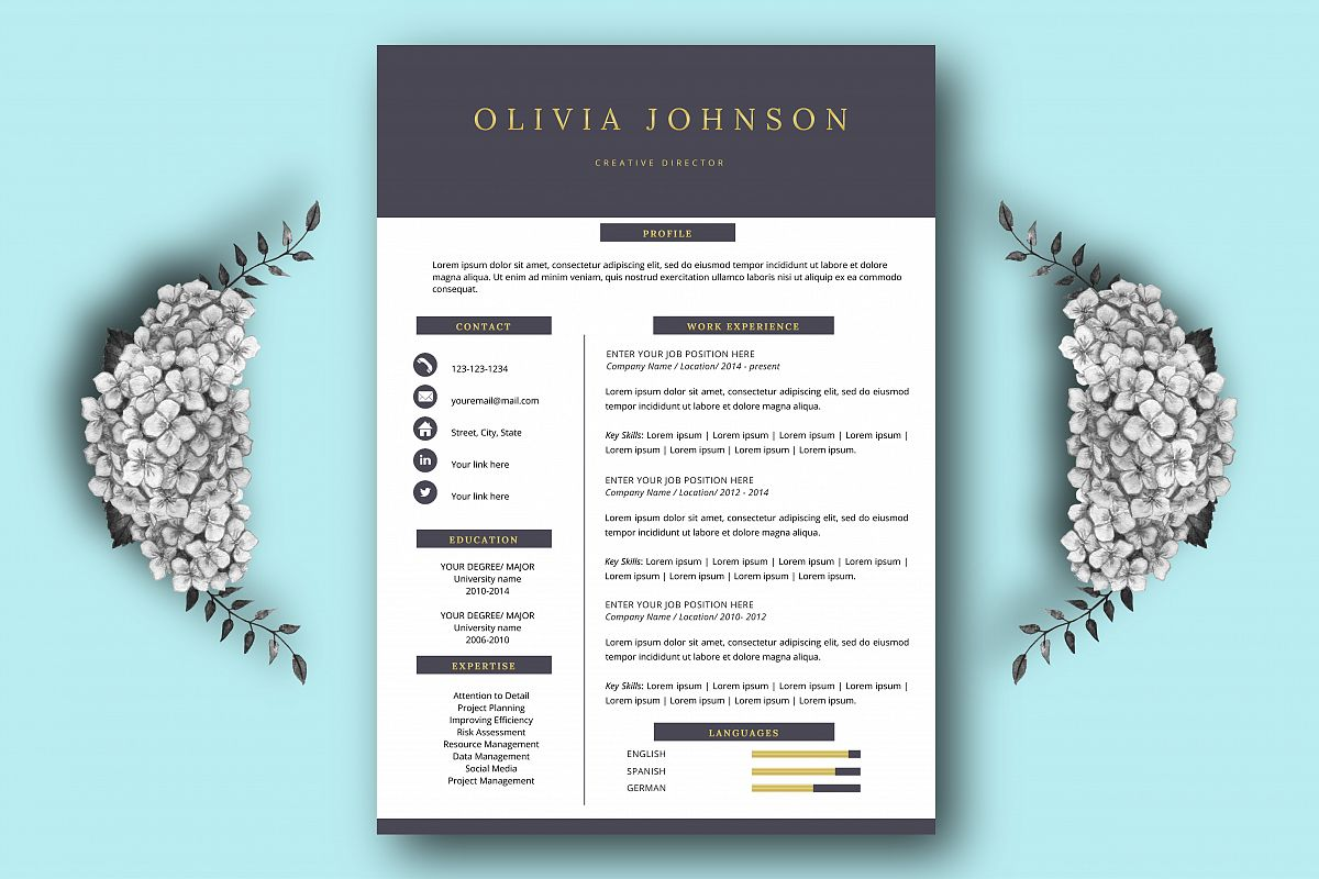 Resume Template One Page Resume By Kri  Design Bundles
