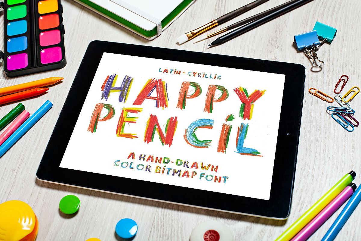 Happy Pencil bitmap color font example image