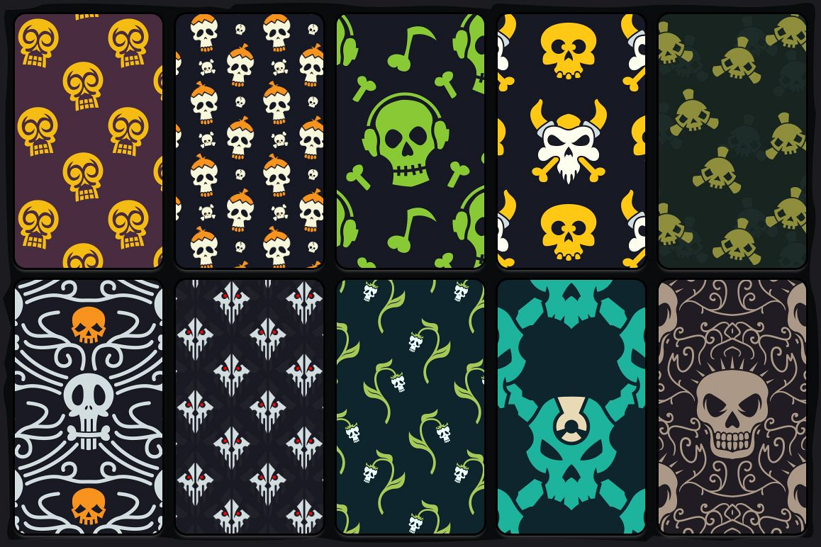 20 Skull Seamless Vector Patterns example image 3