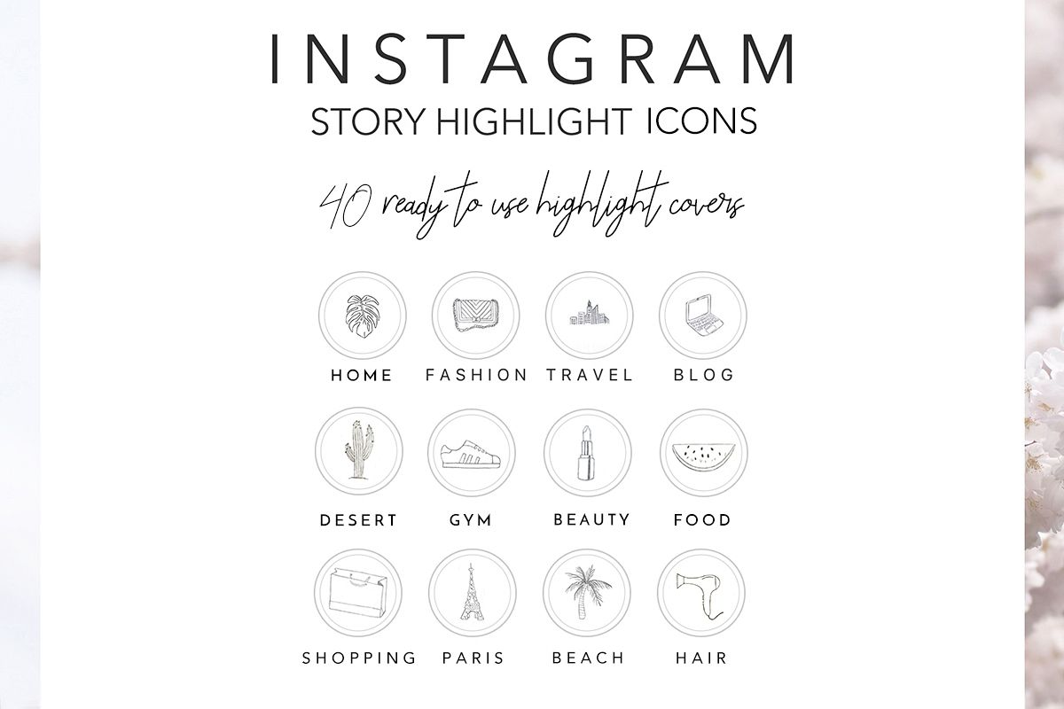 Instagram Story Highlights Icons, Set o | Design Bundles