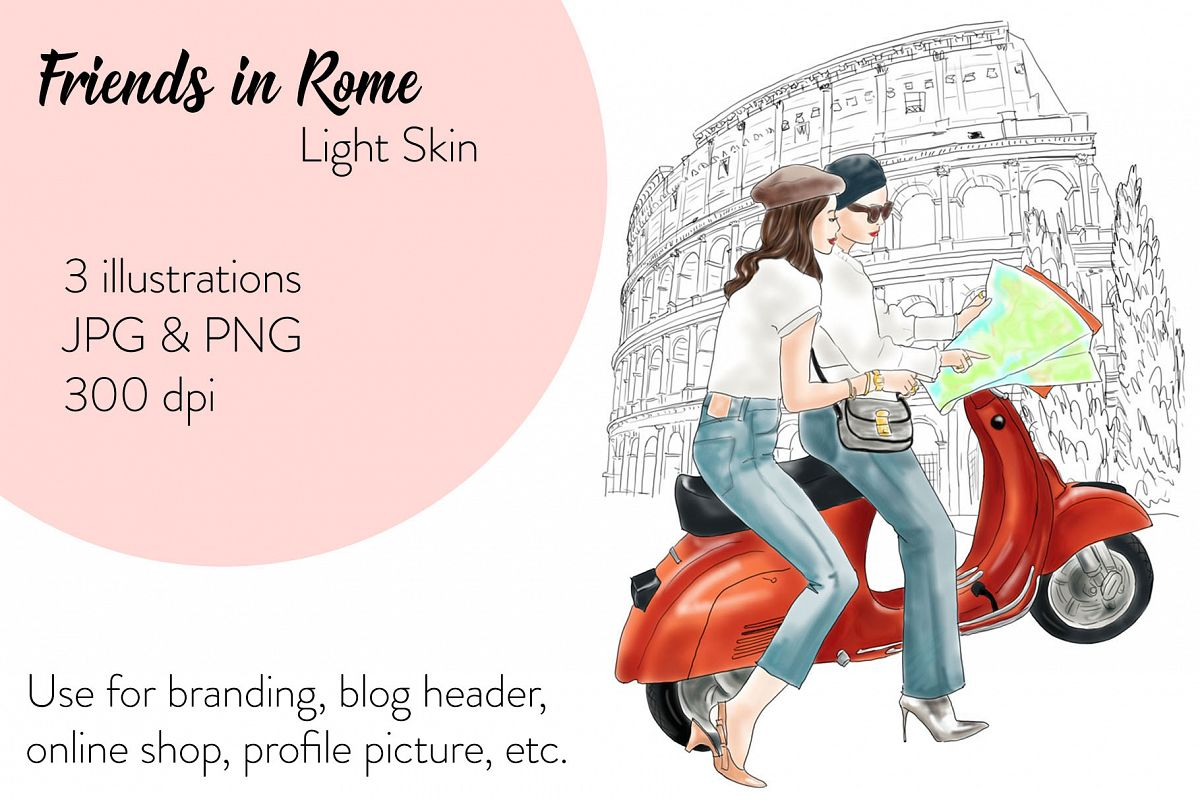 Fashion illustration - Friends in Rome - Light Skin example image