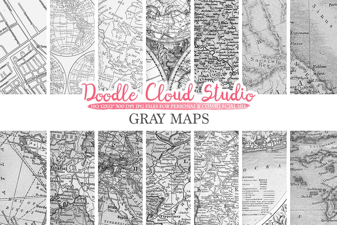 Gray maps digital paper vintage old wo design bundles gray maps digital paper vintage old world map city nautical geographic shabby gumiabroncs Gallery