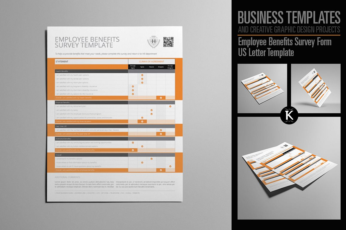 Employee Benefits Survey Form US Letter | Design Bundles