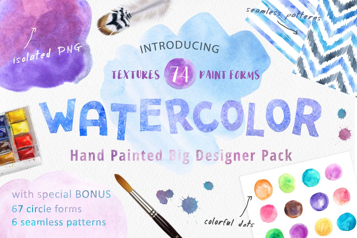 Big Watercolor Textures Pack example image