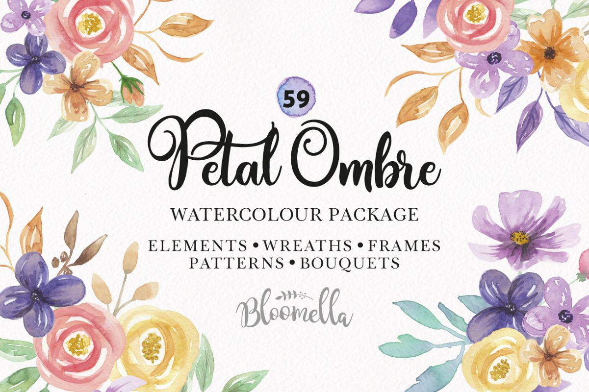 Watercolor Flower Petal Ombre Wreaths Frames Pattern Package Example Image