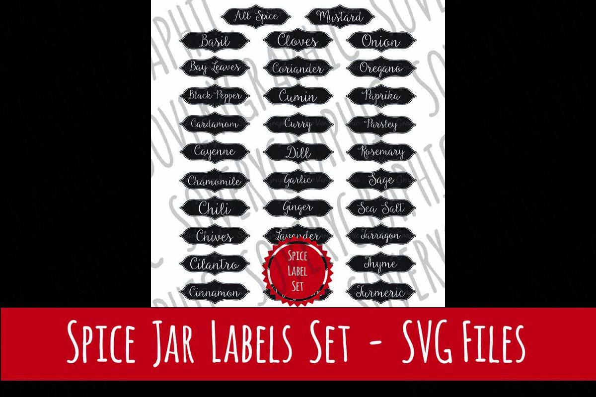 Vintage Spice Jar Label Set of 32 | SVG Cutting Files example image