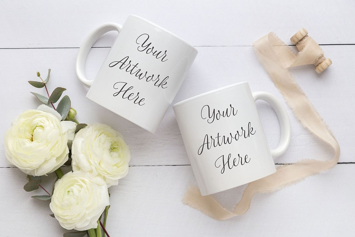 Wedding Double Mug Mockup by Wanderlust | Design Bundles