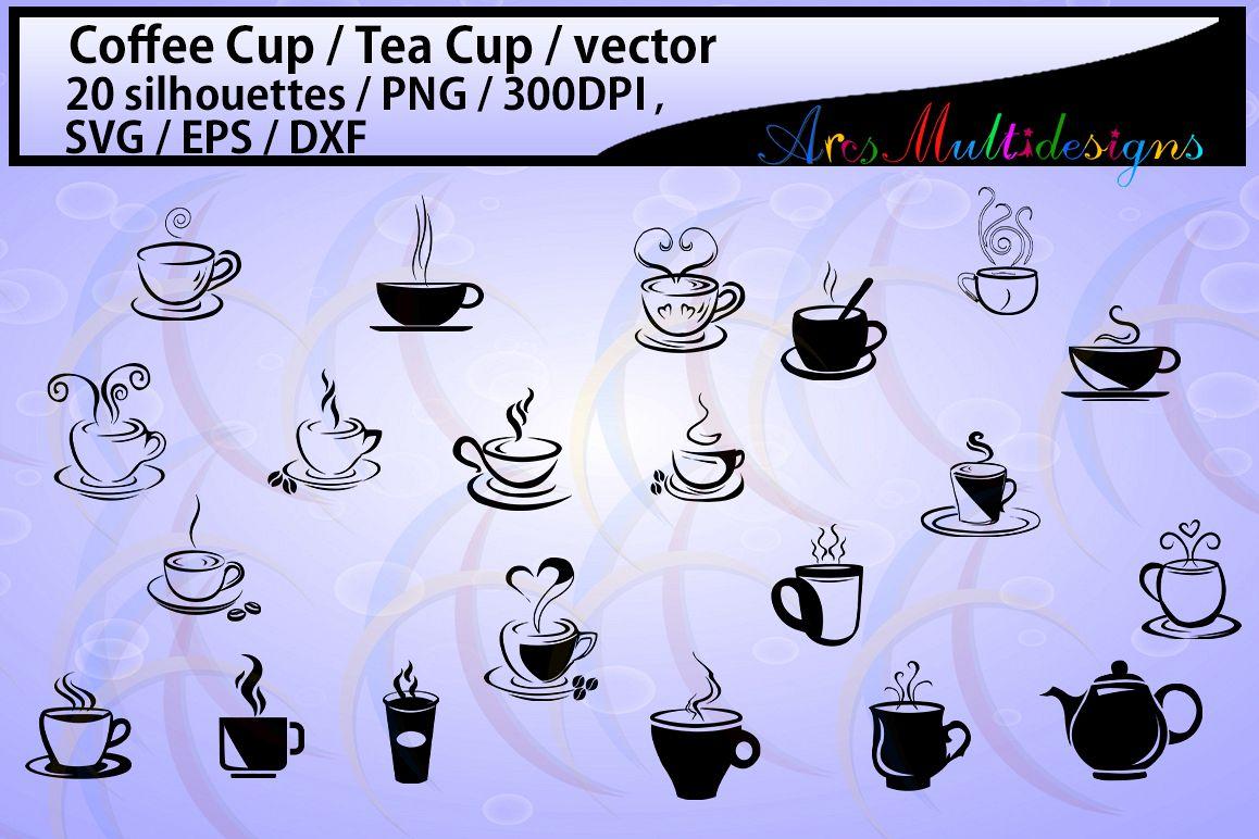 coffee svg / Tea mug / HQ / coffee cup silhouette svg / tea cup silhouette / SVG / PNg / EPS / Dxf files / vector / scrapbooking / coffee cup / mugs example image