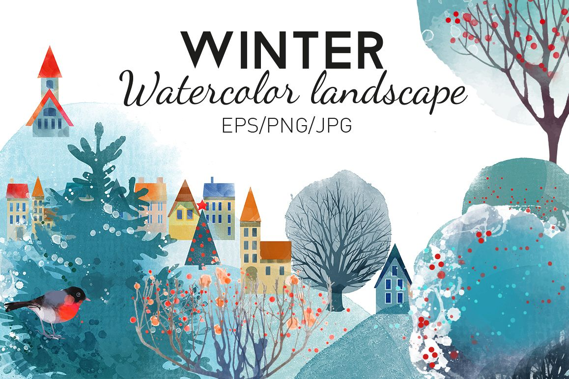 Watercolor winter landscape example image