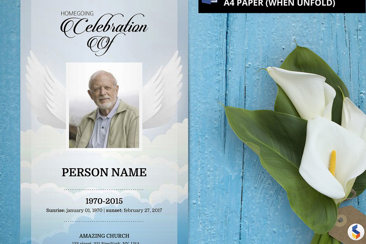 ANGEL WING | Funeral Program Template | MS Word Only Example Image