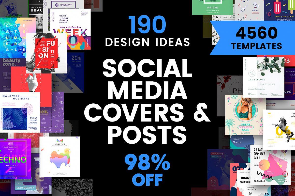Social Media Cover & Post Design Templates Bundle SALE example image
