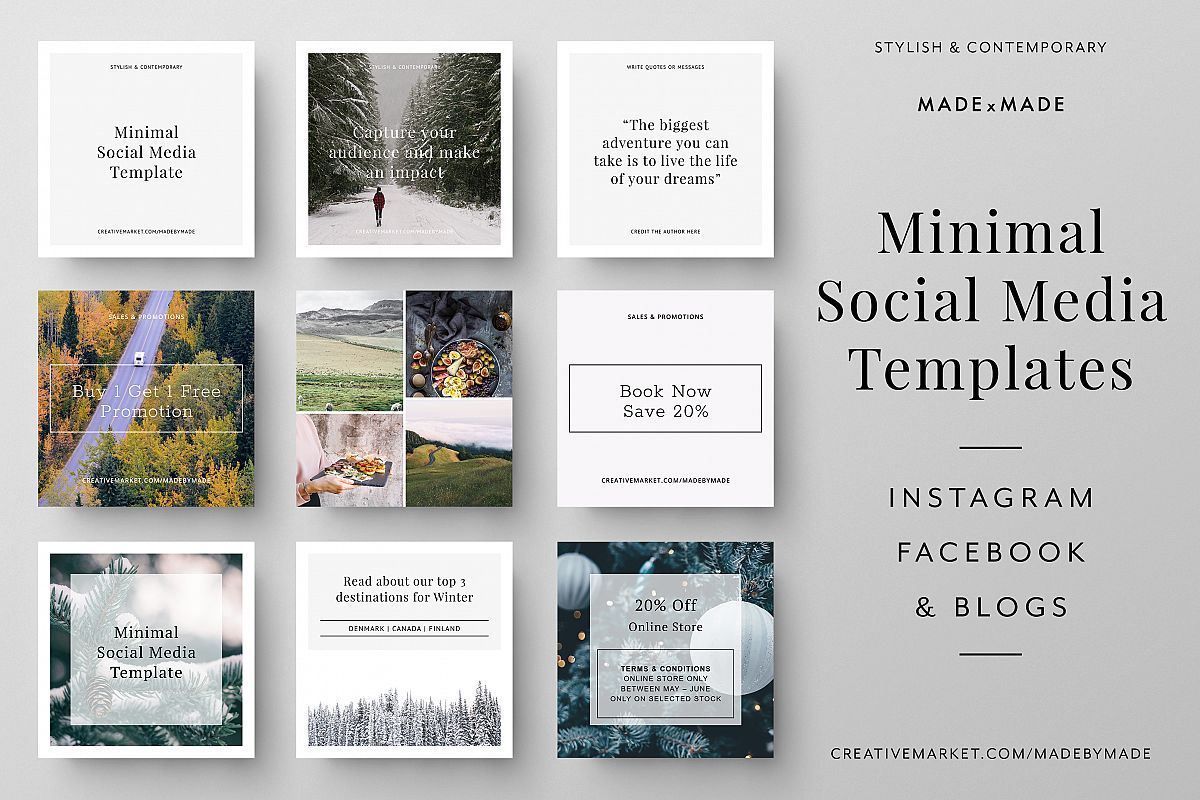 minimal social media templates by made design bundles. Black Bedroom Furniture Sets. Home Design Ideas