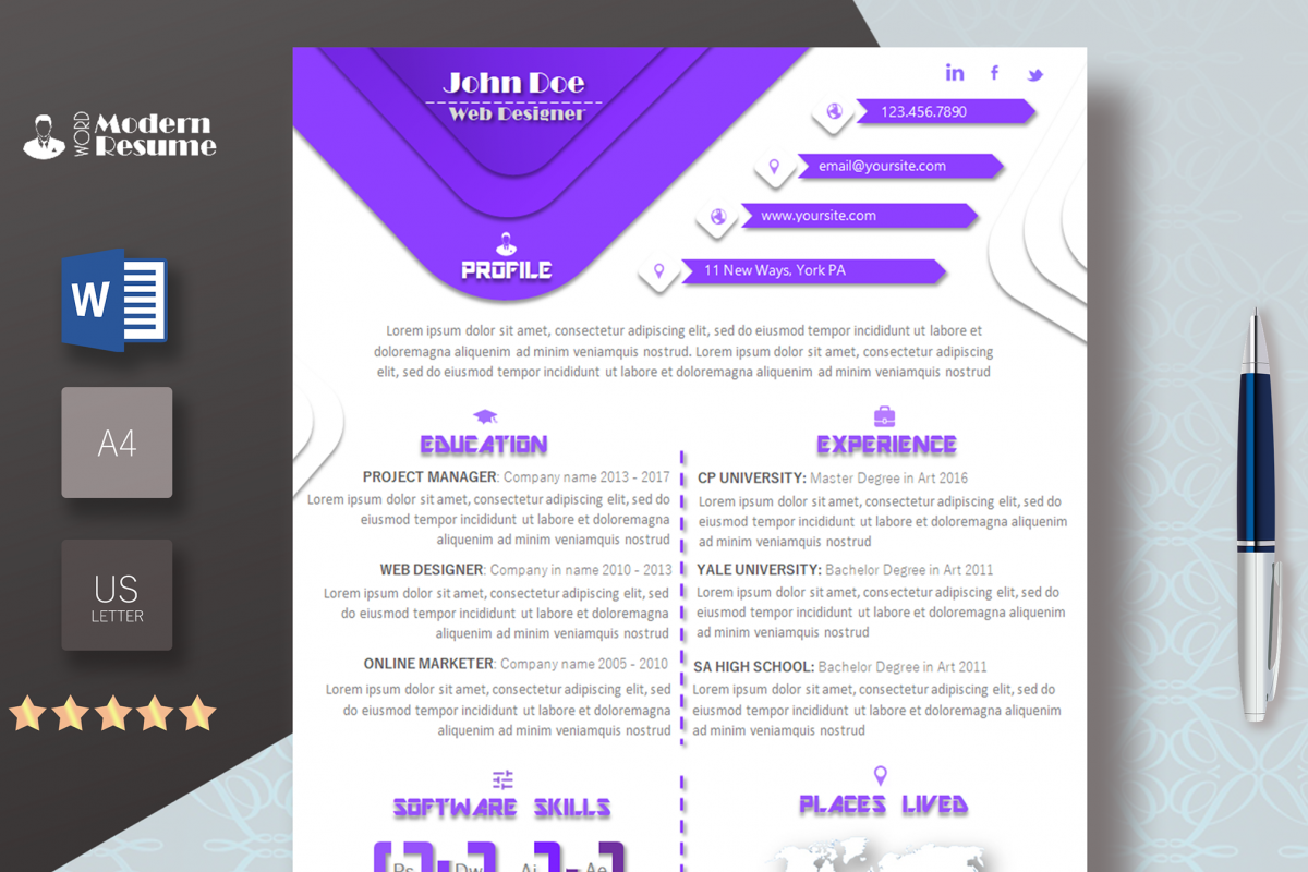 One Page Resume Template  Cover Letter  Design Bundles
