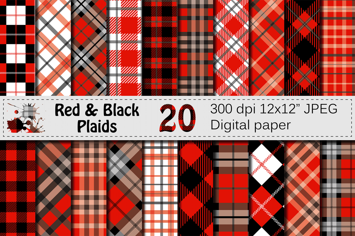 Black and Red Plaids Digital Paper Set example image