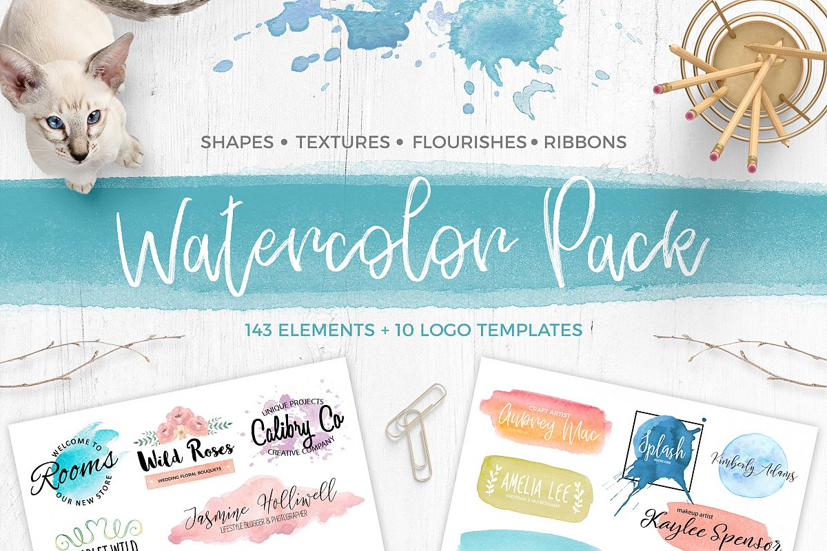 Watercolor Pack. Textures and Logos example image