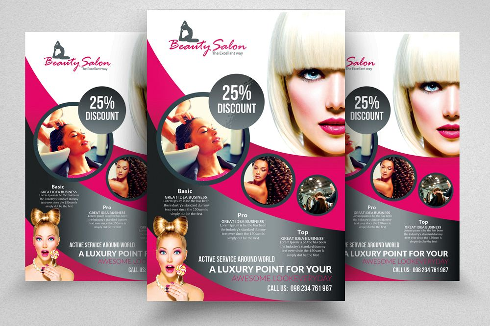Beauty Salon Flyer Templates  By Desi  Design Bundles