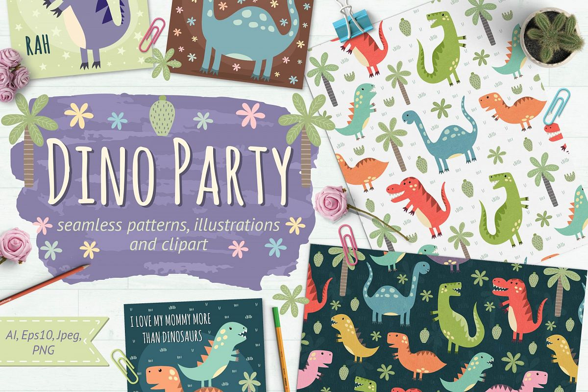 Dino Party: patterns & illusrations example image