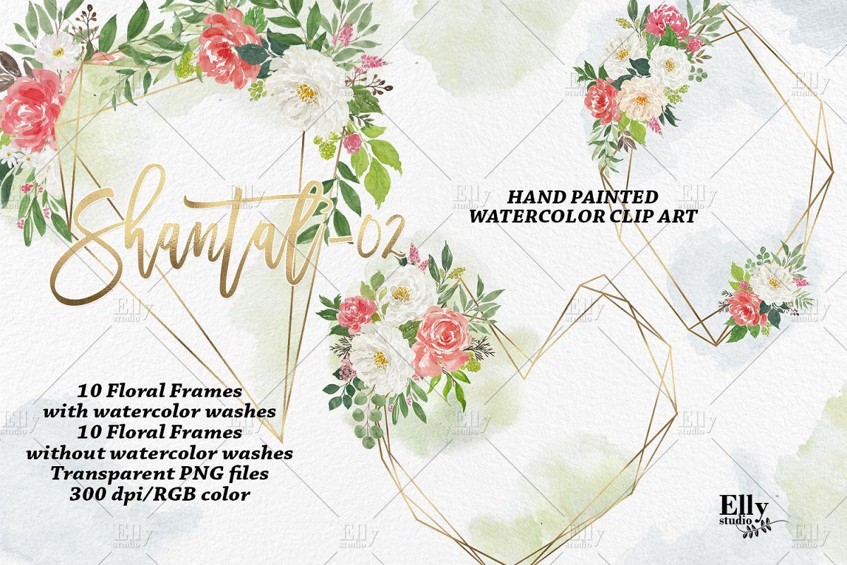 Crystal floral frames, Polygonal gold f   Design Bundles