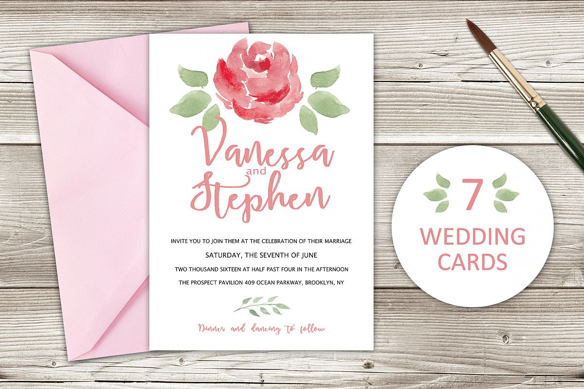 Wedding Invitations Pack 7 cards by Swi | Design Bundles