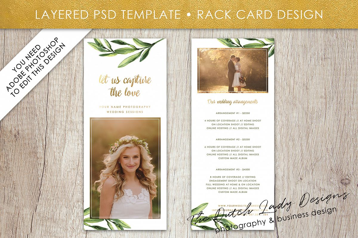 Photo Rack Card Template For Adobe Phot Design Bundles - Rack card design template