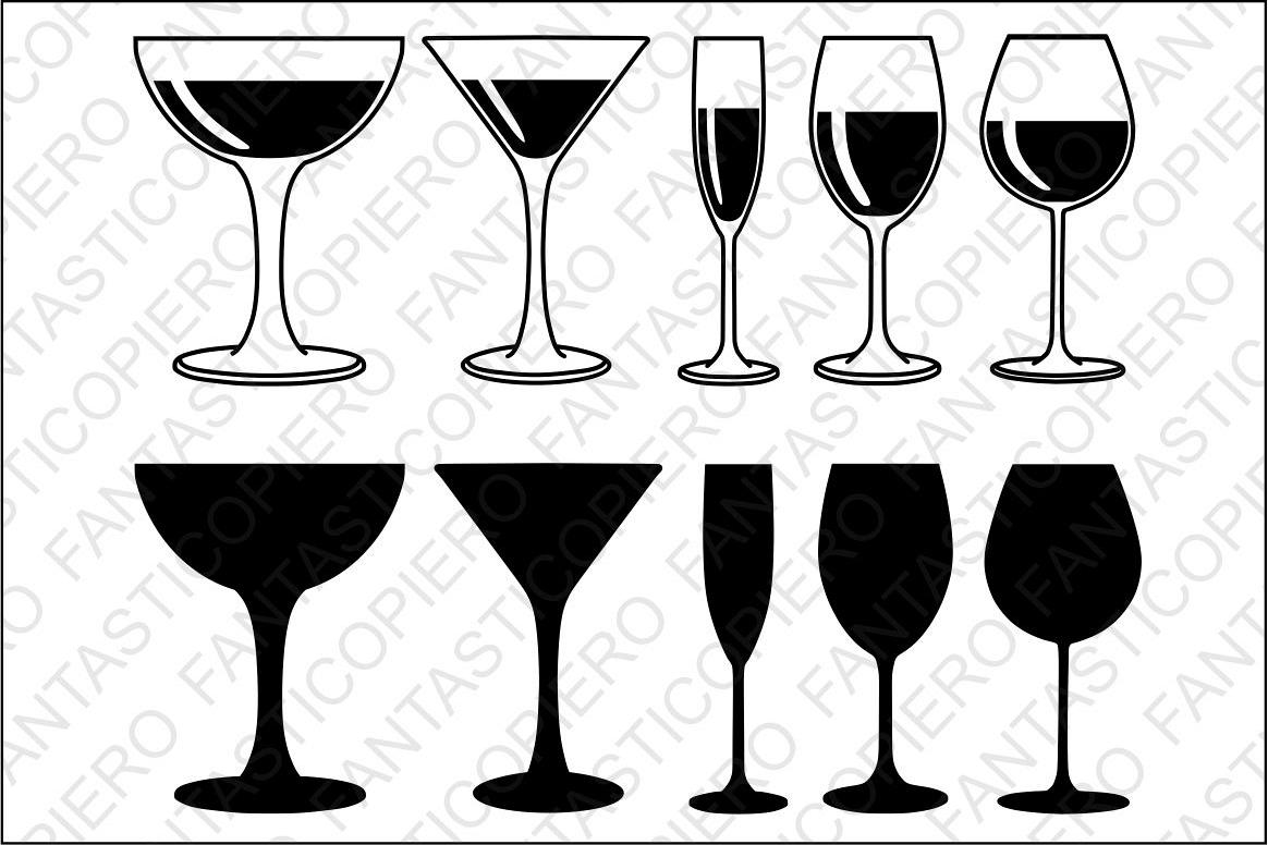Red, white wine Glasses SVG files for S   Design Bundles