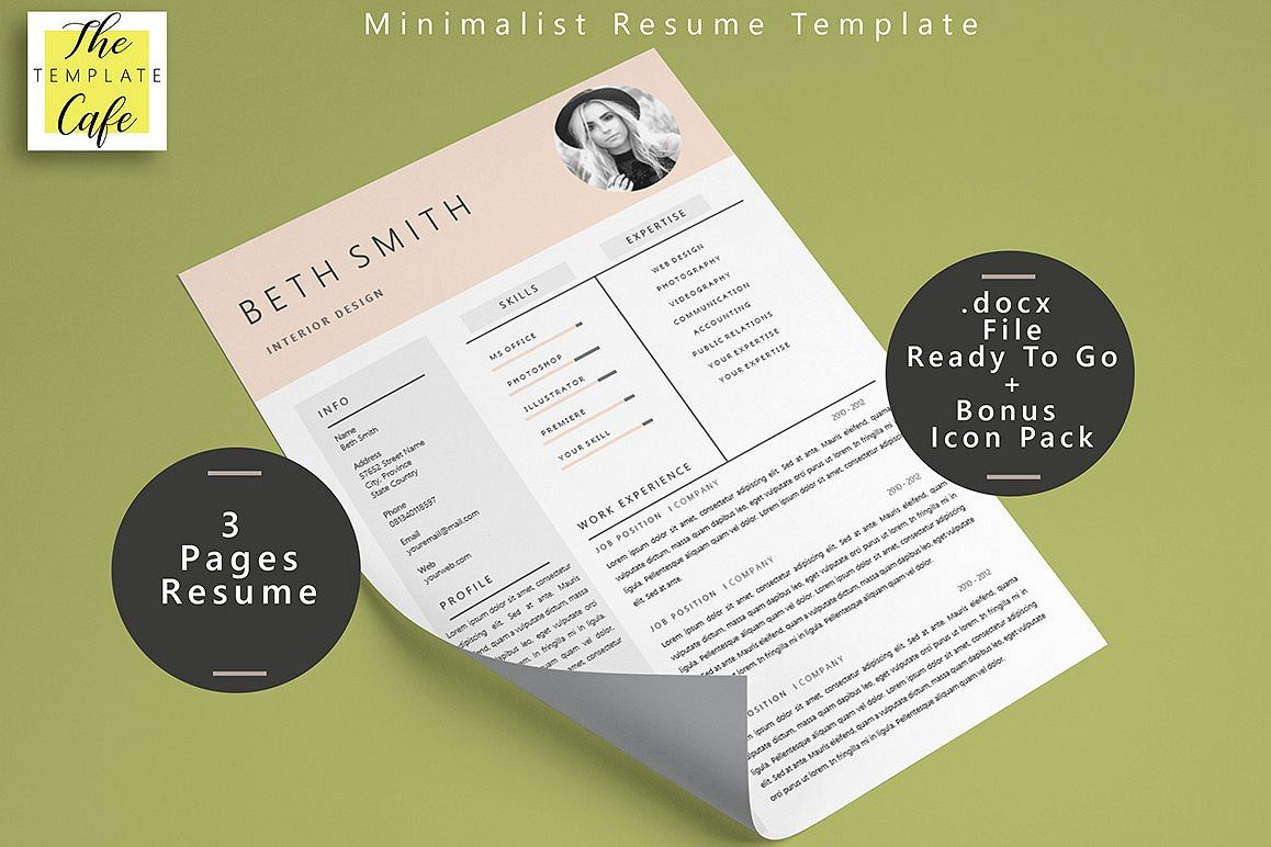 Minimalist Ms Word Resume Template By R  Design Bundles