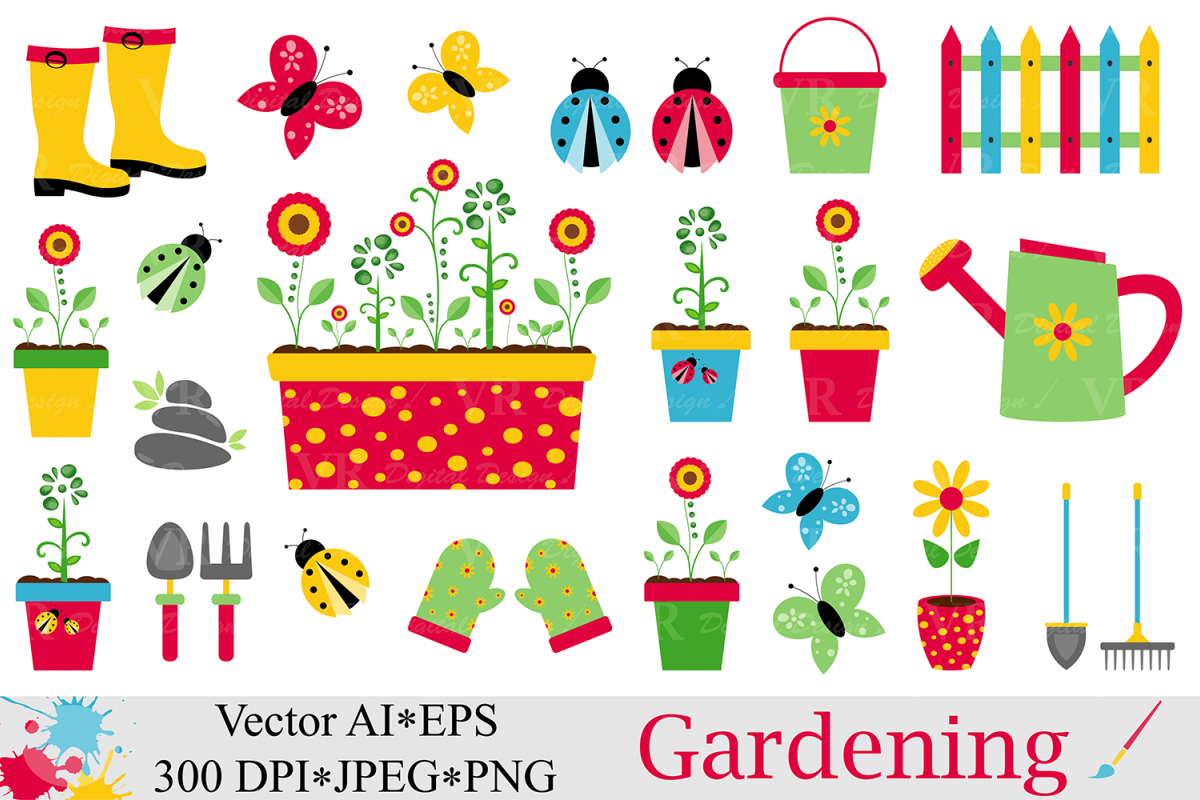 Spring Garden Clipart / Gardening Vector Graphics / Ladybugs And  Butterflies Illustartions Example Image