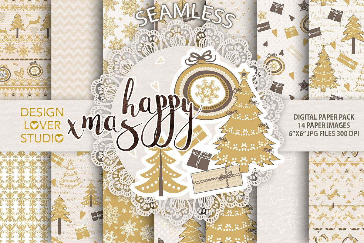 Gold christmas digital papers pack example image