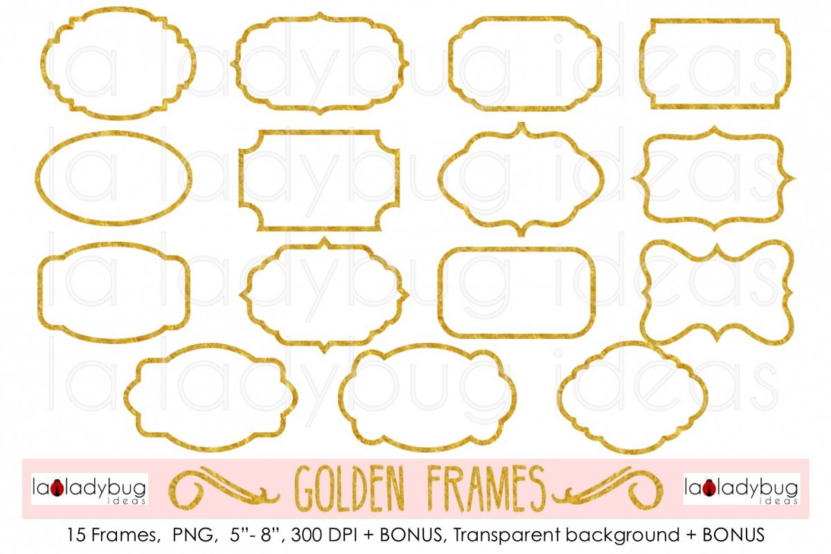 Golden Frames Clip Art Foil Gold Example Image