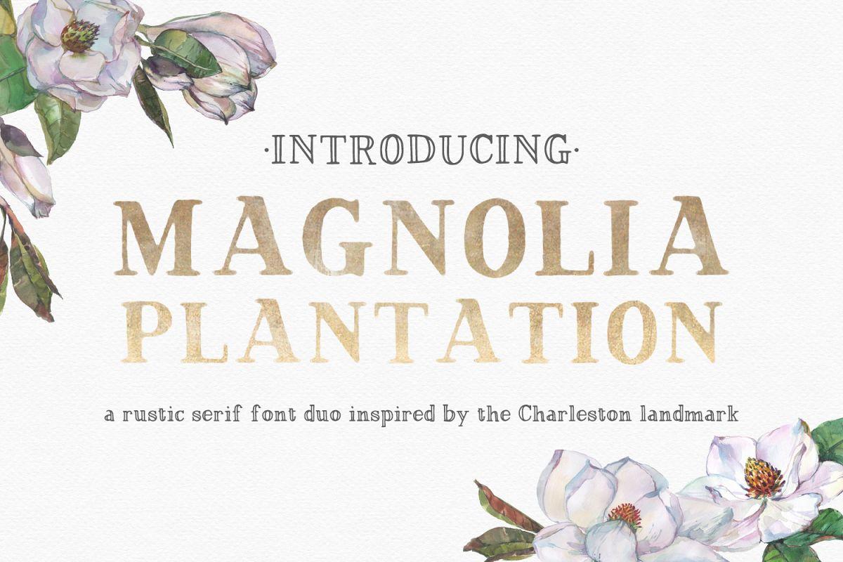 Magnolia Plantation Hand-lettered Serif Font Duo example image