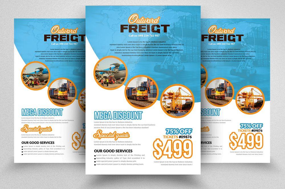 International Freight Flyer Template by | Design Bundles