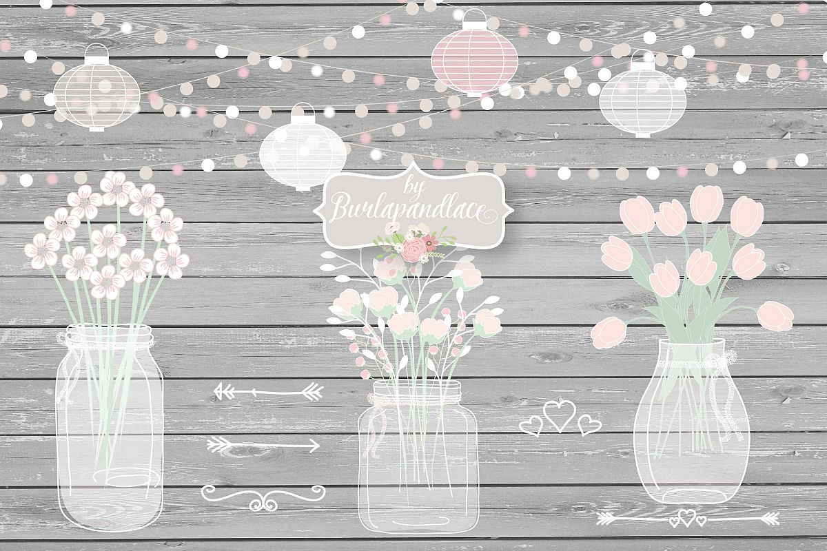 Vector Mason Jar Wedding Invitation clipart example image