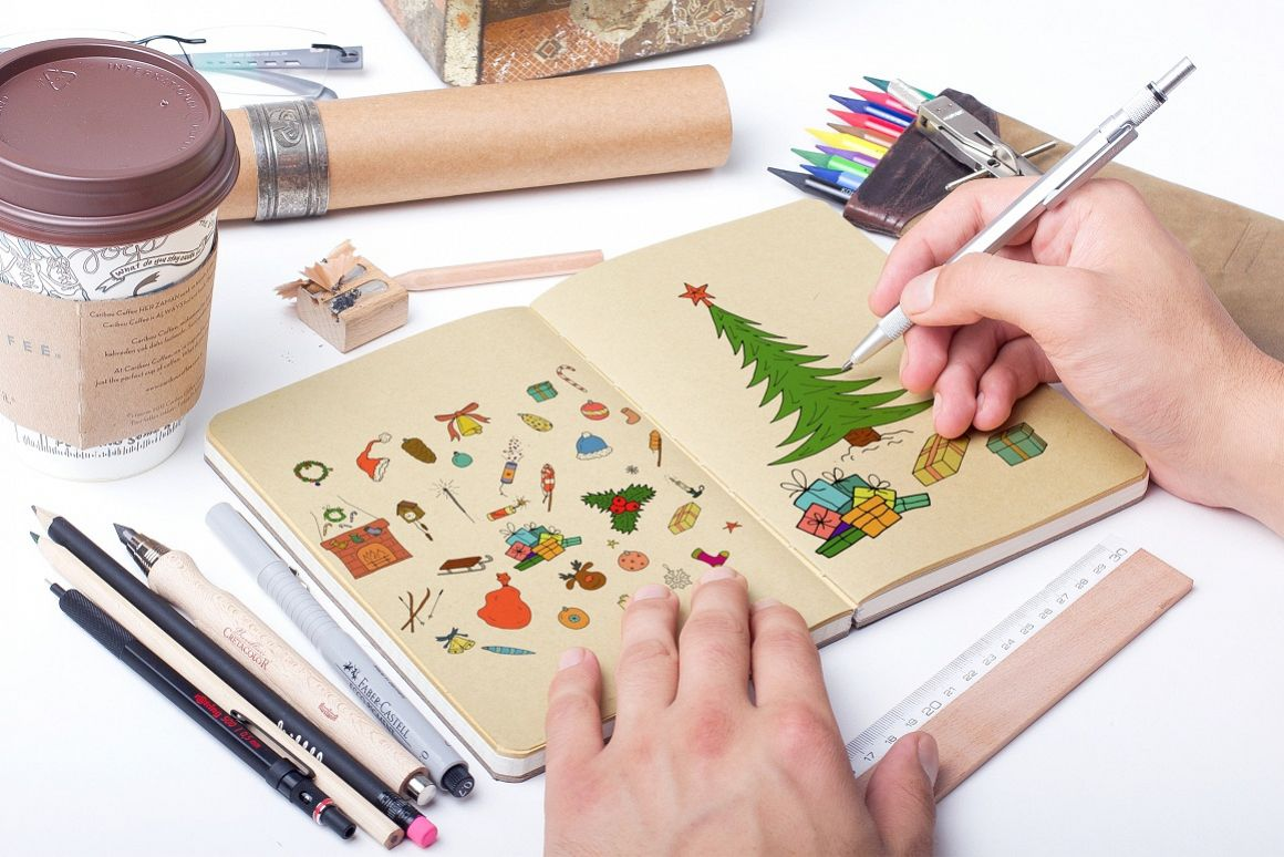 Color christmas doodle elements example image