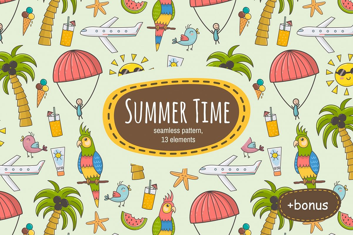 Summer Time: pattern & clipart example image
